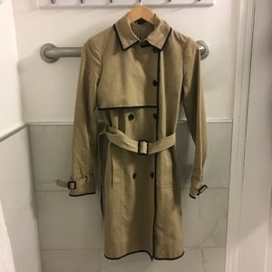 Theory Tan Trench Coat with Leather Trim S